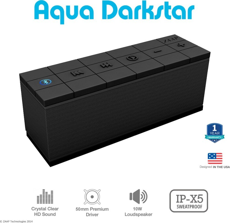 Zaap Aqua Darkstar Bluetooth Speaker(Black, Stereo Channel)