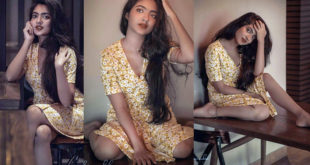 You can see Nandana Varma and photoshoot pictures shining in golden color