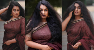 Kavitha Nair in a bold look with a sari.  Images are viral